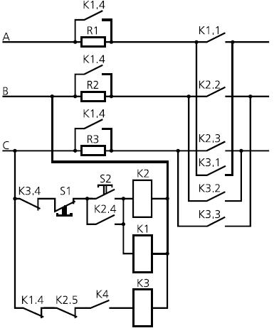 Схема 6 подключения реле для торможения реверсивного электродвигателя с большой скоростью торможения: К1, К2, К3...