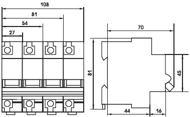 габаритные размеры выкючателей ВА 47-100