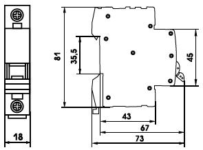 габаритные размеры выкючателей ВА-63 однополюсной