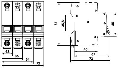 габаритные размеры выкючателей ВА-63 четырехполюсной