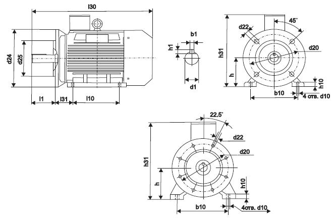 габаритно - присоединительные размеры двигателей 5АИ