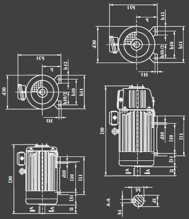 габаритно - присоединительные размеры двигателей 5MT H(F)