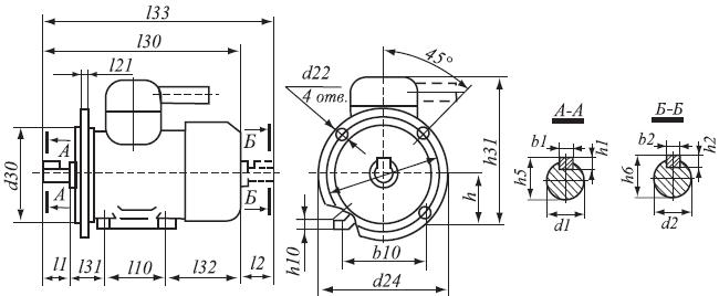 габаритно - присоединительные размеры двигателей аим