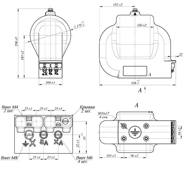 Общий вид трансформатора ЗНОЛ.06-10-4