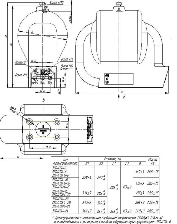 Общий вид трансформатора ЗНОЛ