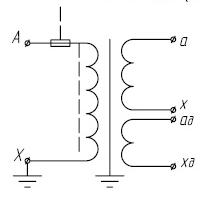 Принципиальная электронная схема трансформатора напряжения ЗНОЛПМ, ЗНОЛПМИ