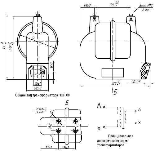 Общий вид трансформаторов НОЛ.08 и принципиальная электрическая схема трансформатора НОЛ.08