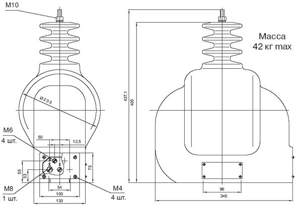 Общий вид трансформатора напряжения ЗНОЛ
