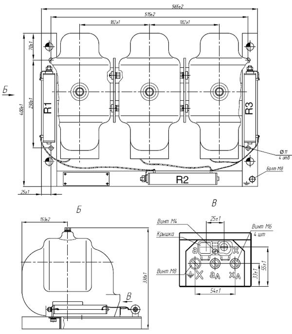Общий вид трансформатора 3хЗНОЛ.06