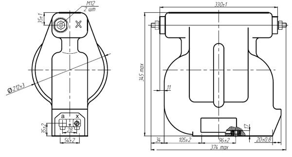 Общий вид трансформатора напряжения НОЛП