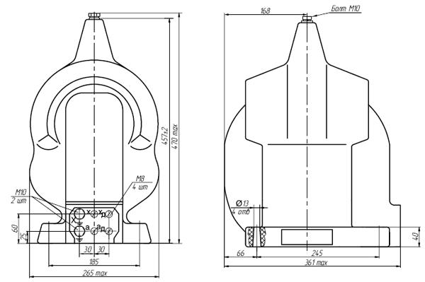 Общий вид трансформатора ЗНОЛЭ-35
