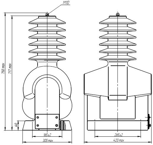 Общий вид трансформатора напряжения ЗНОЛ-35 III