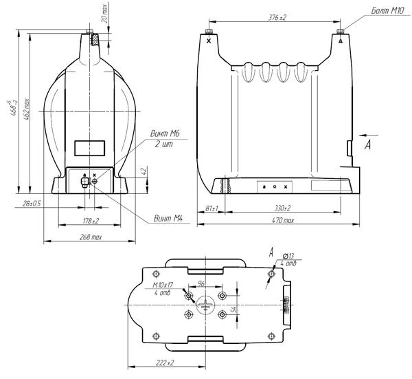 Общий вид трансформатора НОЛ-35-1