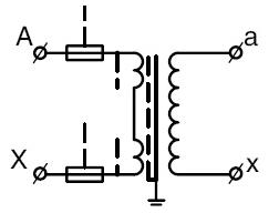 Принципиальная электрическая схема трансформатора напряжения НОЛП