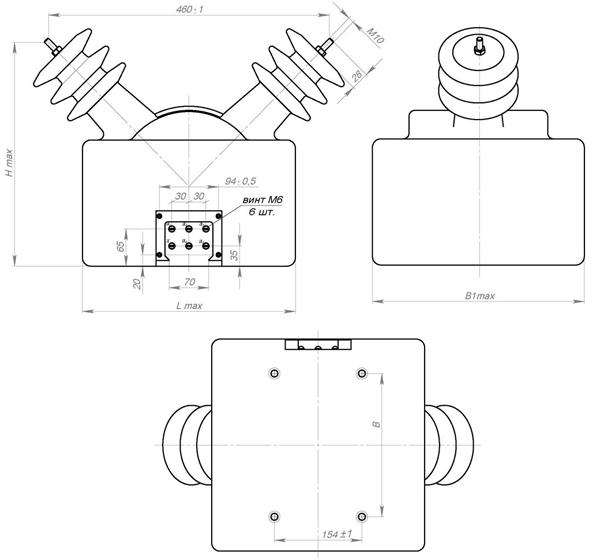 Схема силового трансформатора ОЛ мощностью от 2.5 до 4 кВА класса напряжения 6 и 10 кВ