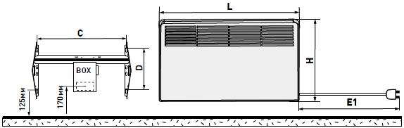габаритные размеры конвектора Beta E