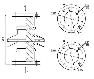 гараритные размеры изолятора ОНШП-20-10
