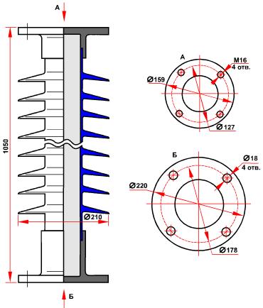 гараритные размеры изолятора ОСК-6-110-А-4