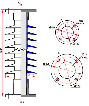 гараритные размеры изолятора ОСК-10-110-А-4