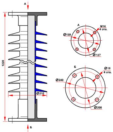 гараритные размеры изолятора ОСК-10-110-Г-4