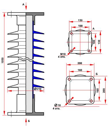 гараритные размеры изолятора ОСК-10-110-Д-4