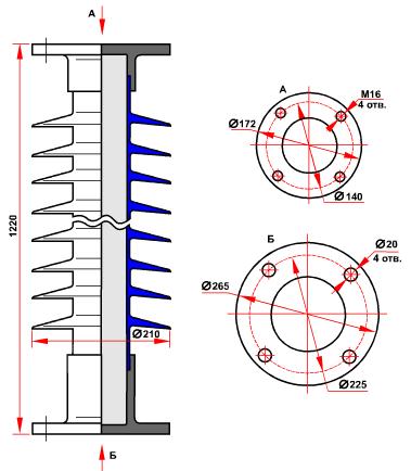 гараритные размеры изолятора ОСК-10-110-Е-4