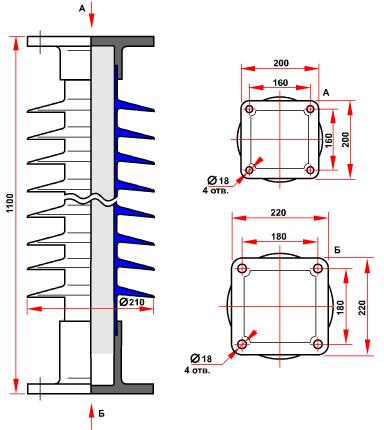 гараритные размеры изолятора ОСК-12,5-110-А-4