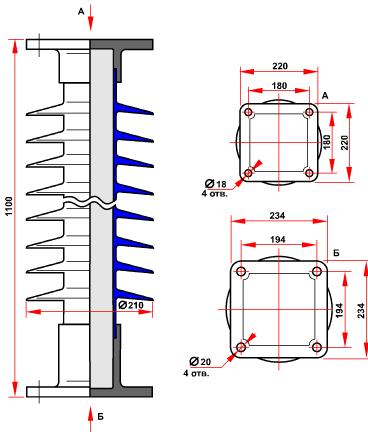 гараритные размеры изолятора ОСК-10-150-Б-4