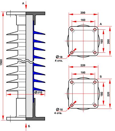гараритные размеры изолятора ОСК-10-150-В-4