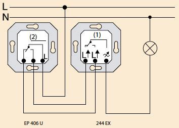 включение универсального выключателя с диммером