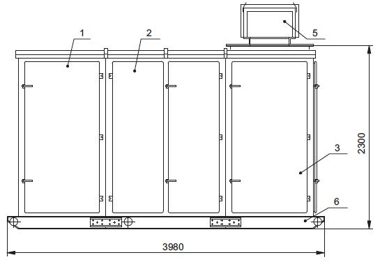 габариты 2КТПТАС с АВР, 630 кВа