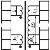 принципиальная схема трехобмоточного трансформатора с ответвлениями на вторичной обмотке осм1
