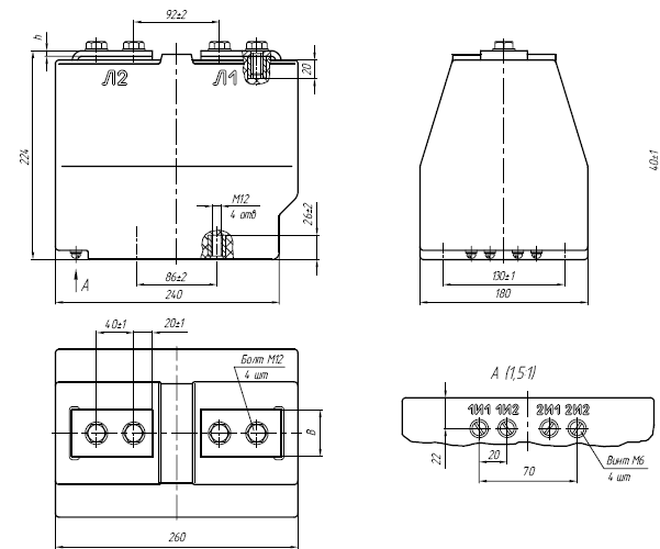 Общий вид трансформатора ТОЛ-10 на токи от 10 до 800А