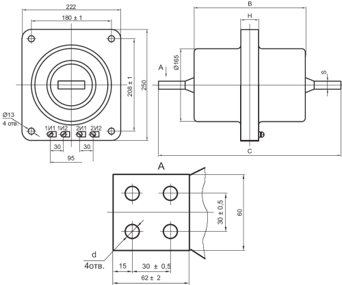 Общий вид трансформатора ТПОЛ-10 на 300-2000А