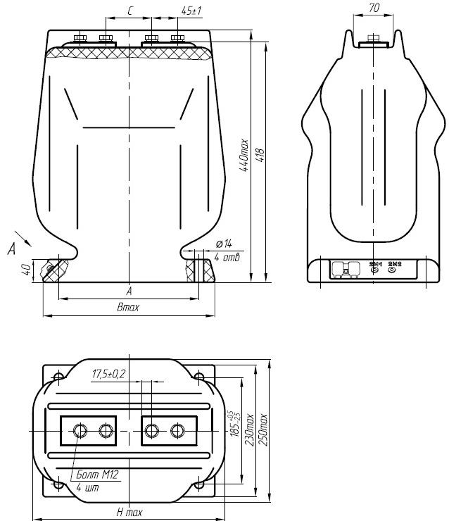 Общий вид трансформаторов ТЛК-35 на токи 150-1500А