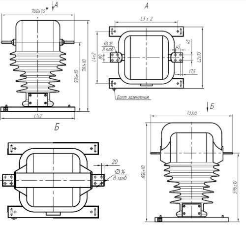 Общий вид трансформаторов ТОЛ-35