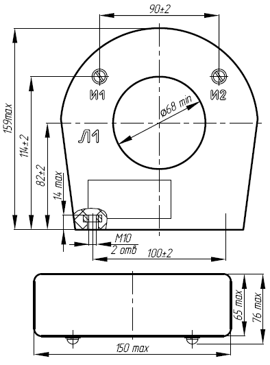 Общий вид трансформатора ТНШЛ-0,66 на 150-500А